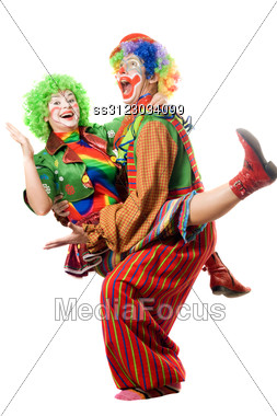 Couple Of Playful Clowns. Stock Photo