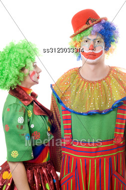 Couple Of Serious Clowns. Stock Photo