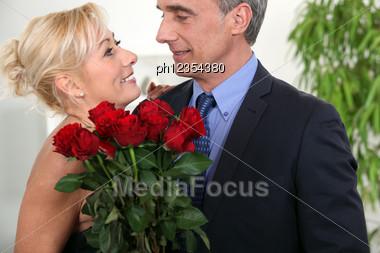 Couple On Valentine Day. Stock Photo