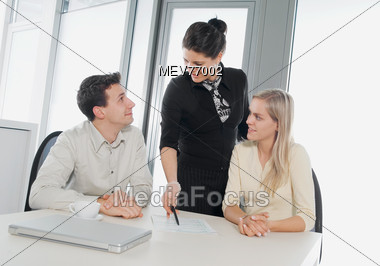 Couple Reviewing Contract Stock Photo