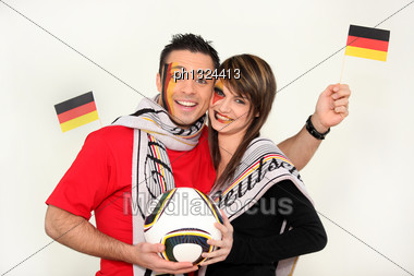 Couple Supporting The German Football Team Stock Photo