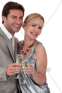 Couple With A Glass Stock Photo