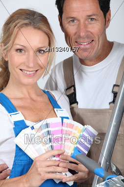 Couple With Color Chart Stock Photo