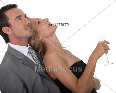 Couple With Glass Stock Photo