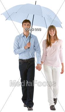 Couple With Umbrella Stock Photo