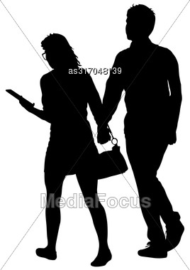 Couples Man And Woman Silhouettes On A White Background. Vector Illustration Stock Photo