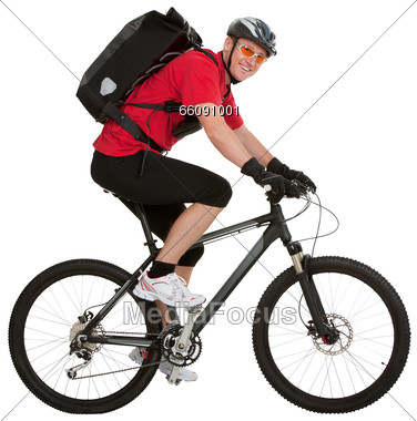 Courier On Bicycle Stock Photo