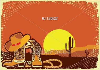 Cowboy's Elements .Grunge Wild Western Background Of Sunset Stock Photo