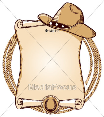 Cowboy Hat And Lasso.Vector American Background For Text Stock Photo