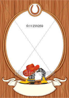 Cowboy poster background for design with cowboy elements Stock Photo