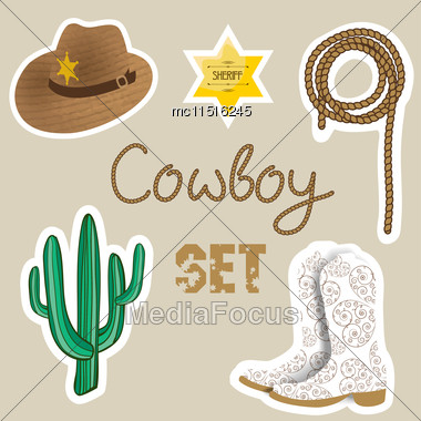 Cowboy Poster. Wild West Background For Your Design. Cowboy Elements Set. Boots And Lasso Rope On Brown Background Stock Photo
