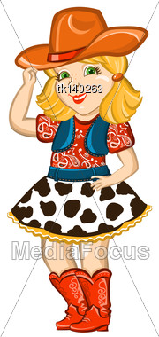 Cowgirl Child With Western Hat And Boots.Vector Happy Kid Illustration For Party Birthday Stock Photo