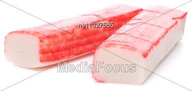 Crab Sticks Group Isolated On White Background Stock Photo