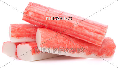 Crab Sticks Group Isolated On White Background Stock Photo