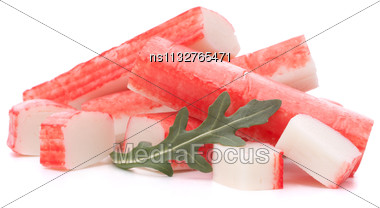 Crab Sticks Group And Rucola Leaf Isolated On White Background Stock Photo