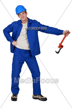 Craftsman Posing Stock Photo