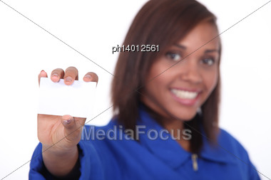 Craftswoman Holding Business Card Stock Photo
