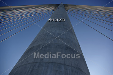 Crane And Pole Of New Bridge Ove River Sava At Balgrade, Serbia. Stock Photo