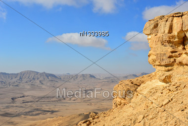 Crater Makhtesh Ramon In The Negev Desert Stock Photo