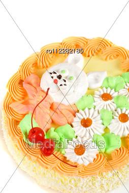 Cream Cake Closeup With Cherry On A Grey Stock Photo