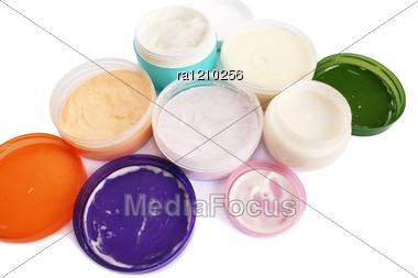 Cream Jars Stock Photo