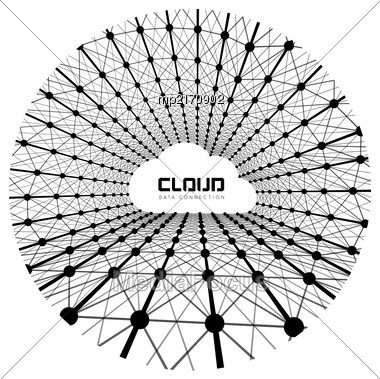 Creative Cloud Background With Line Data Connections. Vector Illustration Stock Photo