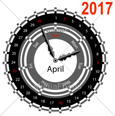Creative Idea Of Design Of A Clock With Circular Calendar For 2017. Arrows Indicate The Day Of The Week And Date. April Stock Photo