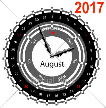 Creative Idea Of Design Of A Clock With Circular Calendar For 2017. Arrows Indicate The Day Of The Week And Date. August Stock Photo
