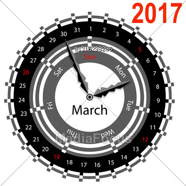 Creative Idea Of Design Of A Clock With Circular Calendar For 2017. Arrows Indicate The Day Of The Week And Date. March Stock Photo