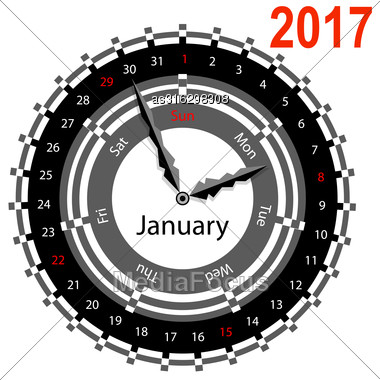 Creative Idea Of Design A Clock With Circular Calendar For 2017. Arrows Indicate The Day Of The Week And Date. January Stock Photo