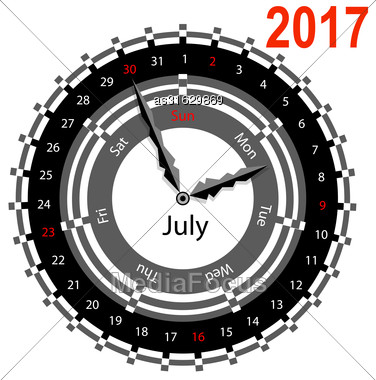 Creative Idea Of Design Of A Clock With Circular Calendar For 2017. Arrows Indicate The Day Of The Week And Date. July Stock Photo