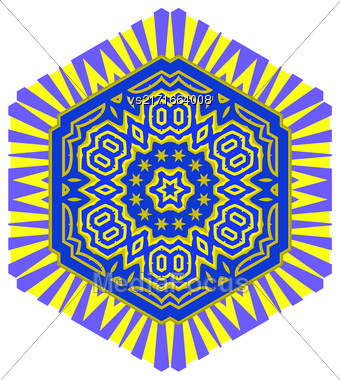 Creative Ornamental Blue Yellow Pattern. Geometric Decorative Background Stock Photo