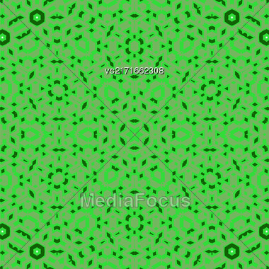 Creative Ornamental Green Pattern. Geometric Decorative Background Stock Photo