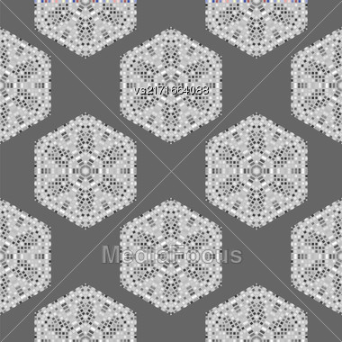 Creative Ornamental Mosaic Seamless Grey Pattern. Geometric Decorative Background Stock Photo
