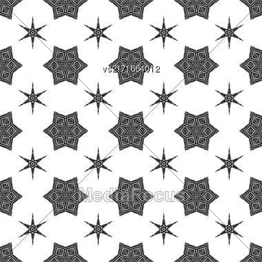 Creative Ornamental Seamless Black Pattern. Geometric Decorative Background Stock Photo