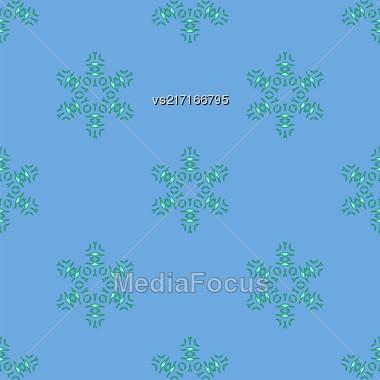 Creative Ornamental Seamless Blue Pattern. Geometric Decorative Background Stock Photo