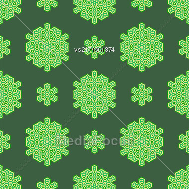 Creative Ornamental Seamless Green Pattern. Geometric Decorative Background Stock Photo