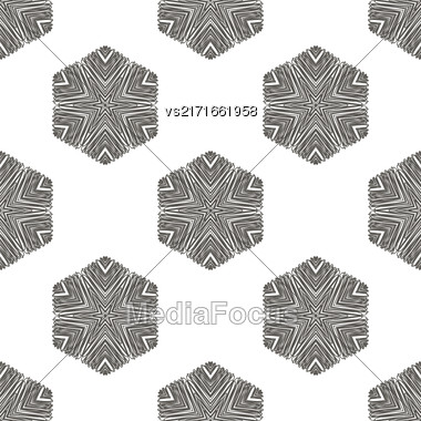 Creative Ornamental Seamless Grey Pattern. Geometric Decorative Background Stock Photo