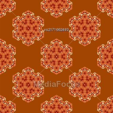 Creative Ornamental Seamless Orange Pattern. Geometric Decorative Background Stock Photo