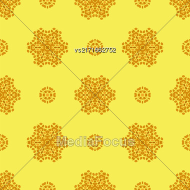 Creative Ornamental Seamless Yellow Pattern. Geometric Decorative Background Stock Photo