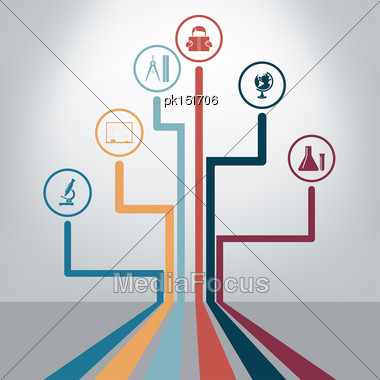 Creative School Design With Icons. EPS 10 Vector Illustration Without Transparency Stock Photo