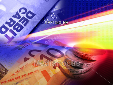 credit cards and money Stock Photo
