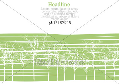 Creen Trees On Gray With Space For Text. Vector Stock Photo