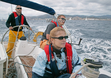 Crew of a sailing ship at Regatta Stock Photo