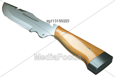 Crime And Weapon: Hunting Knife Isolated Over White Background Stock Photo