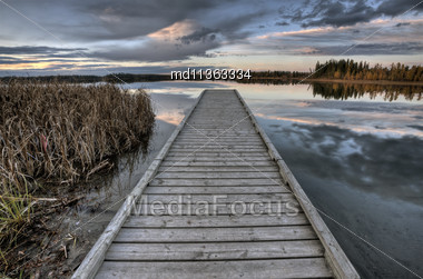 Crimson Lake Alberta Canada Boat Dock Sunset Stock Photo