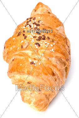 Croissant Isolated On White Background Stock Photo