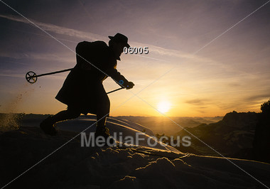 Cross-Country Skiing at Mountain Top Stock Photo