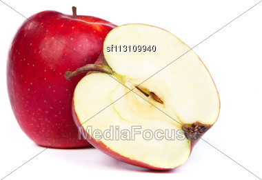 Cross Section Of Red Apple, Showing Pips, And Core. Isolated On White Stock Photo