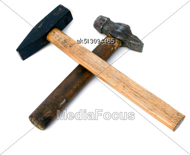 Cross Sign By Two Hammers Stock Photo